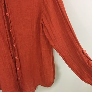 Flax Sweaters - Flax Linen Orange Light Cardigan Medium